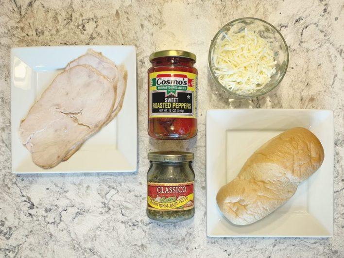 Ingredients for turkey basil pesto sandwich