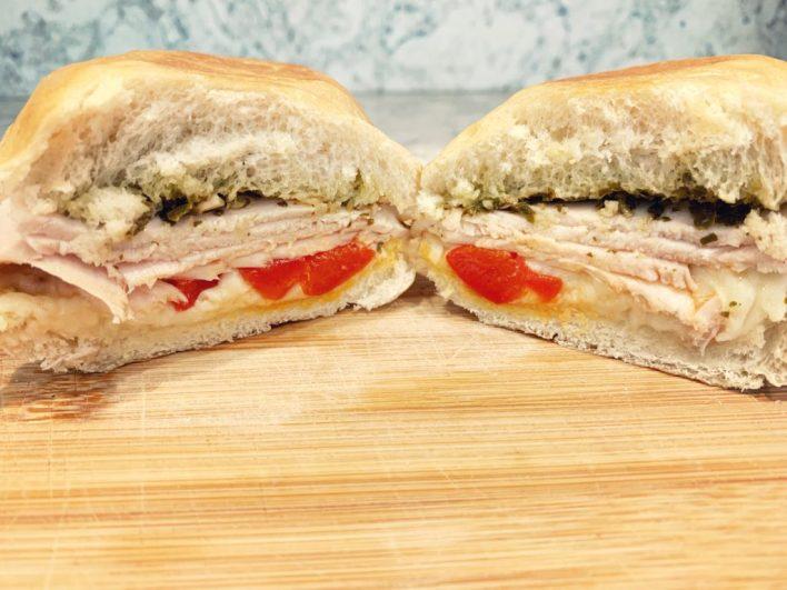 Basil pesto roasted red pepper turkey sandwich