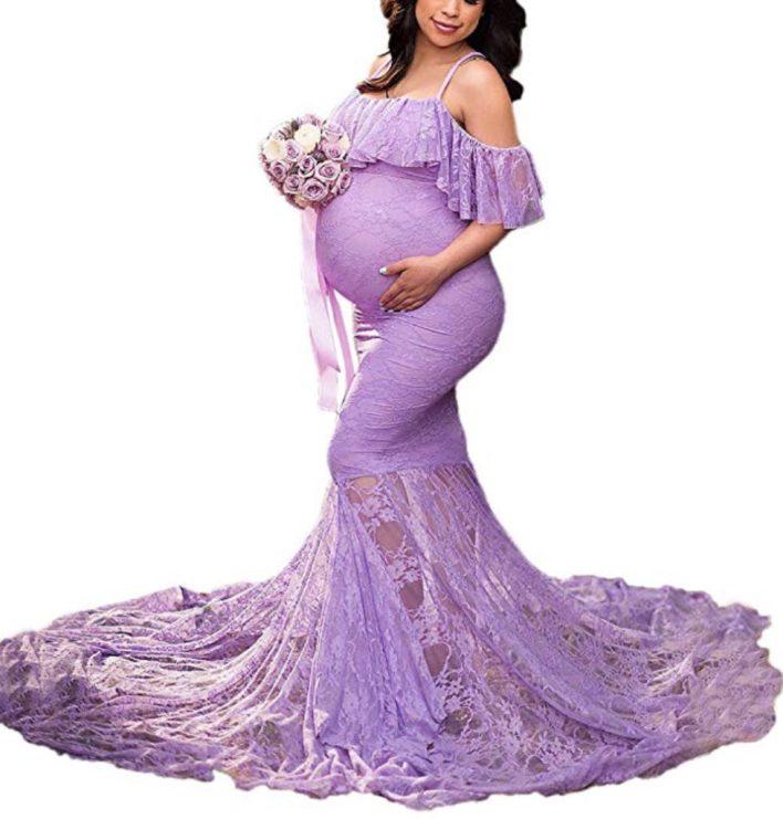 Purple lace pregnant dress