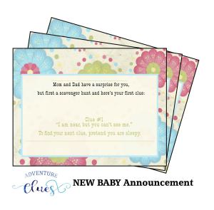 Pregnancy announcement scavenger hunt