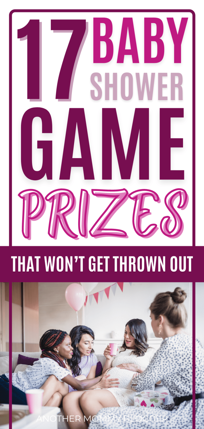 This is a list of baby shower game prize ideas. These prizes for baby shower games are things that won't get thrown out. #babyshower