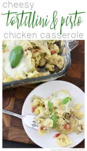 Chicken Tortellini Pesto Bake