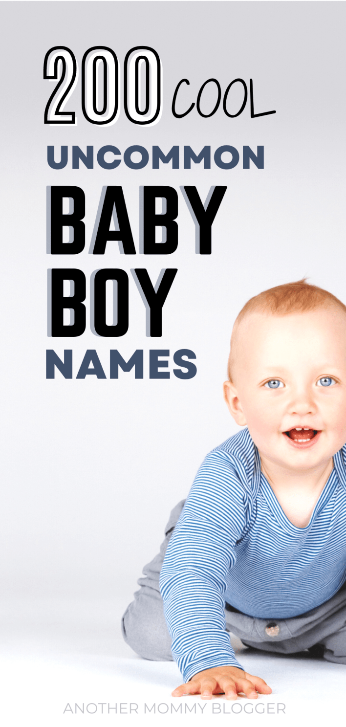 These are uncommon boy names with meaning! Check out this cool baby boy names list of over 200 unique boy names.