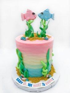 Ocean Themed Gender Reveal Cake