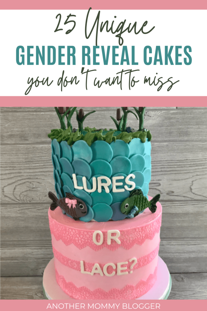 Look at this lures or lace gender reveal cake! This post has 25 unique gender reveal cake ideas for your gender reveal party.