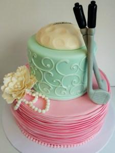 Putters or pearls gender reveal cake