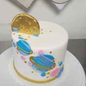 Space Gender Reveal Cake