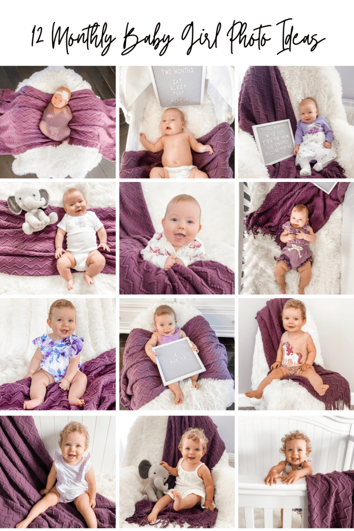 Look at these cute baby girl monthly pictures ideas!learn how to diy baby monthly milestone photos at home with my baby photography tips.