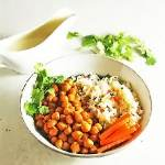 buffalo chickpea bowl with dressing in background