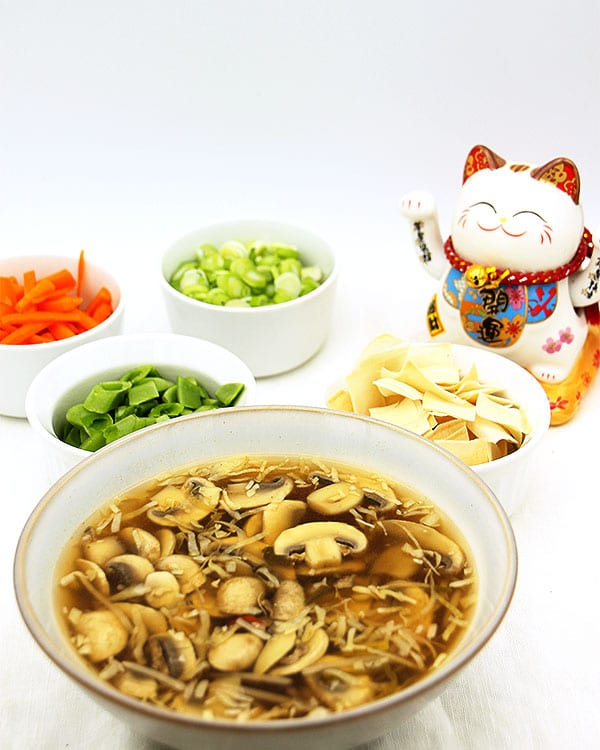 pile on hot & sour soup with garnishes and Chinese cat in background.