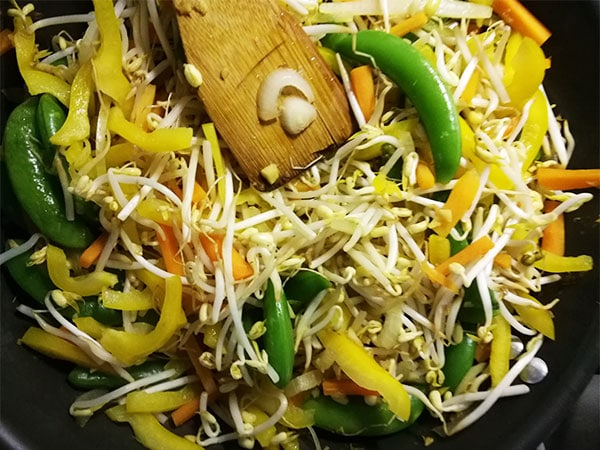 sunshine tofu & noodles vegetables in wok