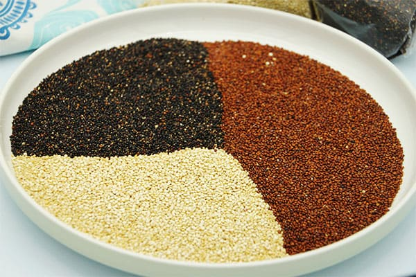 Red, black and white dry quinoa is spread on a white plate.