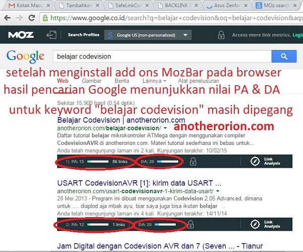 cara melihat mengetahui PA dan DA anotherorion di hasil pencarian google