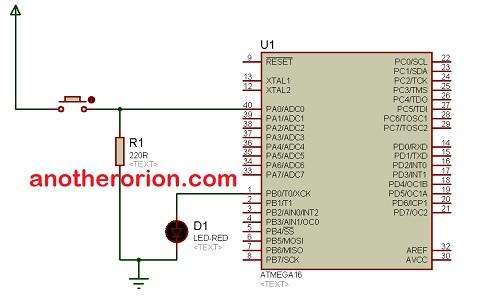<span class='p-name'>belajar mikrokontroler ATMega16; Membuat nyala led sesuai jumlah penekanan tombol</span>