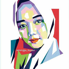 gambar ilustrasi wpap gadis jilbab cantik