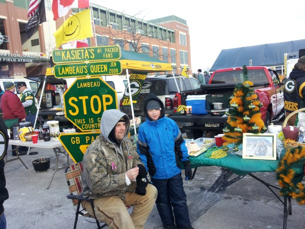 Festive on any game day, Lambeau Field revelers step it up a notch for Christmas