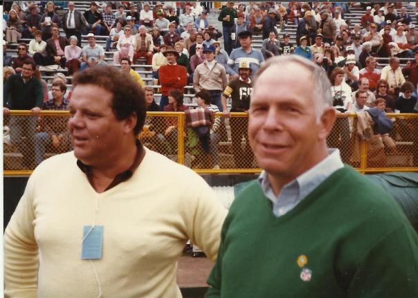 Dad and Bon Skoronski on the field