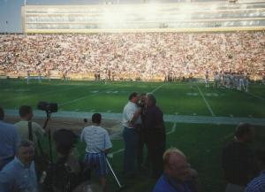 Dad and Paul Hornung on the sidelines