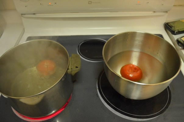 Then I scalded the tomatoes. 20 seconds in hot water, five in cold and the skin peels right off.