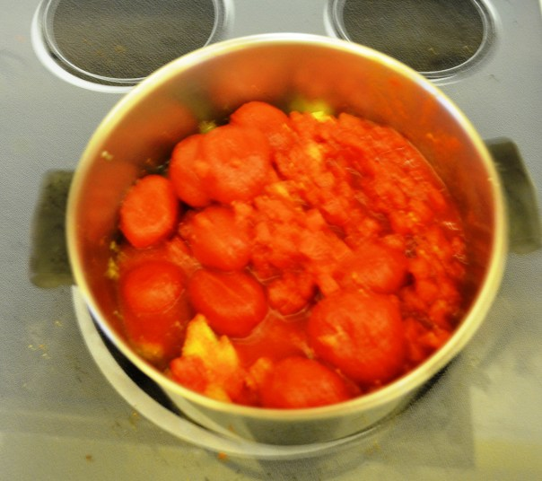 Here's a big pot of tomatoes. With a little ingenuity and a Christmas blender, we turned it into delicious soup.
