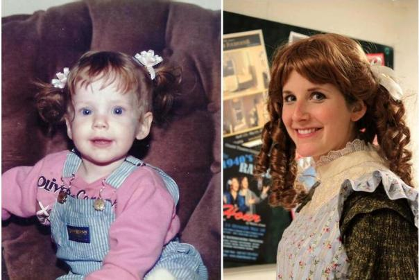 """For a few days in her babyhood, Katherine was a red head. She's all whigged up in this photo from the Citadel Theatre's """"Little Women"""",  but she reminds me of that sweet little baby in the chair."""