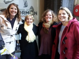 Enjoyed the Book of Mormon with my Mom and my sisters. I get my height from my mother,