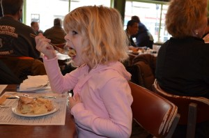 Sunday morning, Erin enjoyed her cinnamon roll...