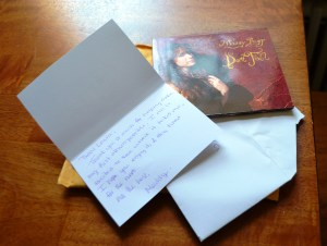 Here's a picture of the thank you note I found tucked into the packaging of my Maddy Ruff CD, which, by the way, is excellent. I don't have any pictures of Maddy and me because I've never actually met her. Learn more about her music at Ruffsongs.com
