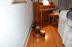 In my defense, it was a darm and stormy night when I tripped over this enormous cello, sent my cellphone, into which I was speaking, flying across the room and landed sprawled under the piano. After further review, and considering both the expense and the conspicuous nature of the instrument, I did not throw it away...this time.