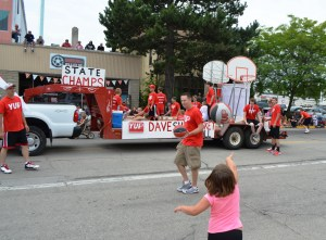 """This team won Pulaski its first ever state basketball title. The crowd chanted their  slogan """"Yup!"""" I theorize it stands for """"You underestimated Pulaski"""" but I can't confirm. I loved this energetic float."""