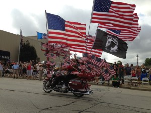 This patriotic display got plenty of applause during the Harley Parade. (photo courtesy Kathy Finley)