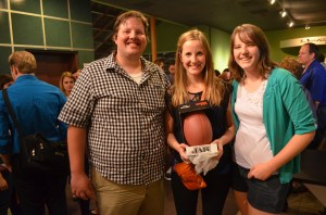 In lieu of flowers, we gave Katherine a football...