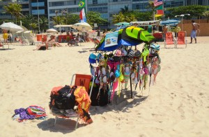 Forgot your suit? NO troubles. A beach vendor will be happy to provide you with a colorful bikini.