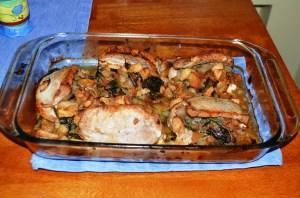 Pork chops and apple kale