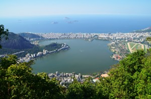 A view from Sugar Loaf Mountain of Guanabara Bay, one of the seven natural wonders of the world.