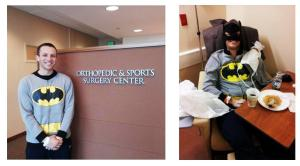 Last year Vinnie had shoulder surgery and I expected to find him wearing a demure hospital gown when I found him in the recover room. Instead, I found Batman, which is appropriate for a young man who, when asked what he wants to be when he grows up, still says he wants to be a super hero.