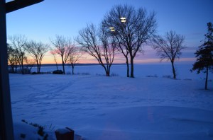 We don't have any pictures of our resolutions, so we're including a picture of the inspiration for them. This is a view of the sunrise over Lake Winnebago on a -20 degree morning. I found the frozen sunrise inspiring, Molly, enjoying an un-planned four-day weekend, slept right through it.