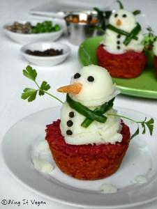 Mashed potato snowmen