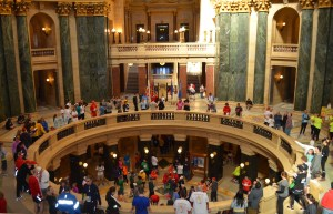 Hundreds of runners warmed up inside the beautiful Wisconsin State Capital.