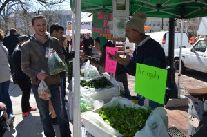 Vinnie and I scored some arugula and spent some time listening to this enthusiastic vendor sing the praises of his spinach.