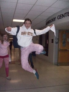 It's not like the water bottle thievery is unprecedented. A high school yearbook featured this lovely shot of my 17-year old son prancing through the high school hallways in my pink pajama pants. I'll bet he has one of my water bottles tucked into that backpack as well.