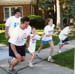My dad and the rest of us lining up for the Father's Day Scamper