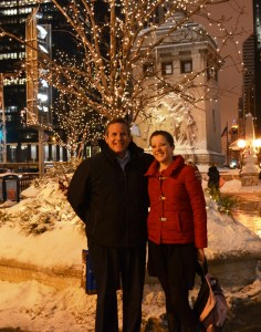 Together my dad and I became pros and being photographed together. This picture was taken, while we were rushing down Michigan avenue, in thoroughly soaked boots, on our way to a party we were already late for.