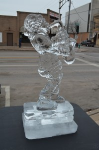 Ice suplture santa and the sax