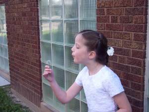 Here's Molly at her First Communion wishing on a dandelion.