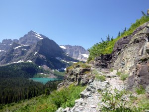 Grinnell Glacier Trail overlooking Grinnell Lake, Glacier National Park, MT