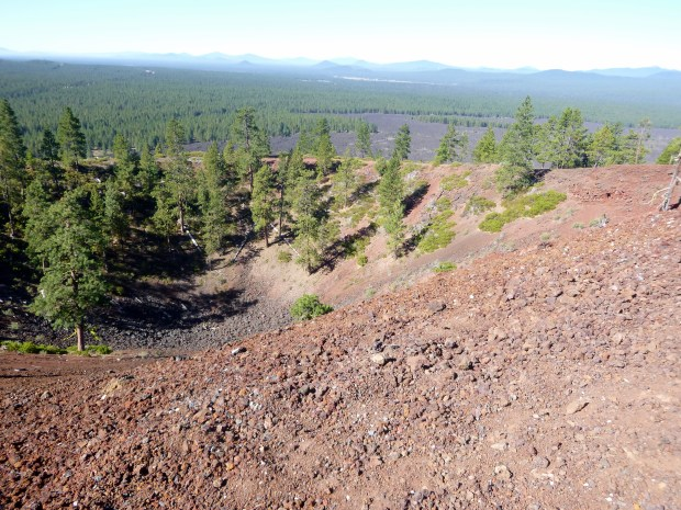 View from the highest side of Lava Butte showing the depression in the middle over the vent as well as the lava field in the background, Newberry National Volcanic Monument, Oregon