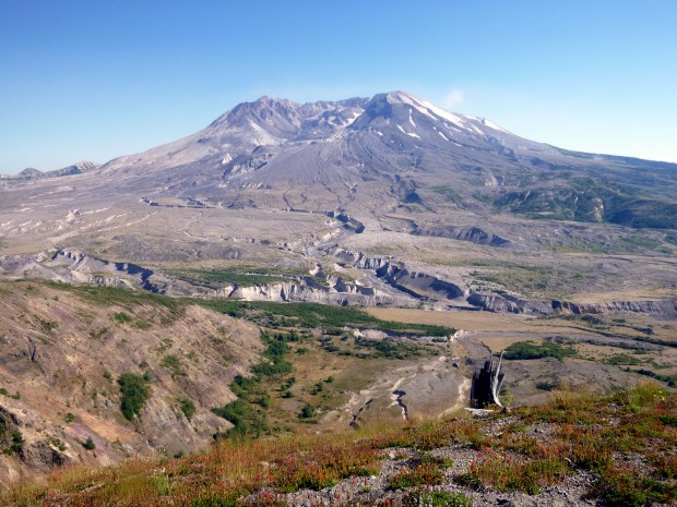 Collapsed North face of Mount St. Helens with permanent, deep channels from magma and mud flows, Mount St. Helens National Monument, WA