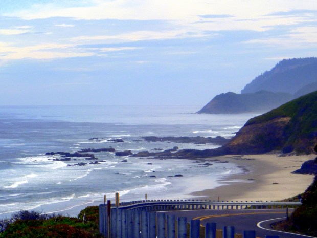 A view of the coast from the road highlighting uneroded basalt, Pacific Coast, Oregon