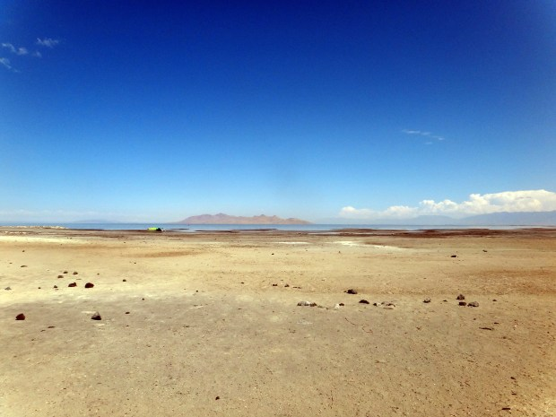 Shoreline of the Great Salt Lake with Antelope Island in the background, Utah. This is Rachel's picture.